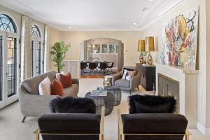 Elegant, mediterranean details in the living room overlooking Lake Harriet