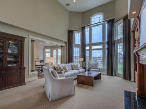 Main level living space with great views of the golf course