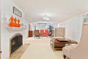 Lower level great room with coved ceiling and fireplace
