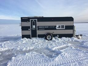 Two sleeper ice houses available for rent