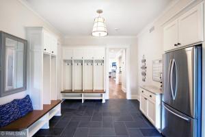 Mudroom Featuring Montauk Black Slate Tile Flooring and Built In Lockers