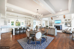 Open Concept Dining With Tray Ceiling Details