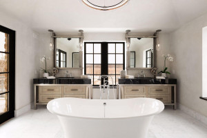 This stunning bath features heated Carrara marble floors, custom designed vanities, walk-in shower, floating tub and balcony access.