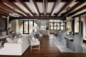 The stunning solid white oak coffered ceiling delivers drama, elegance and an emphasis on spaciousness.
