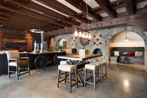 The dramatic fireplace creates a charming focal point to the lower level.