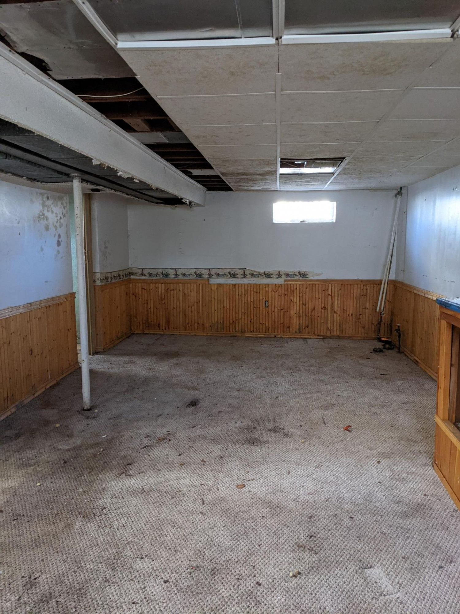 Basement has a large open area ready for remodel to a family room