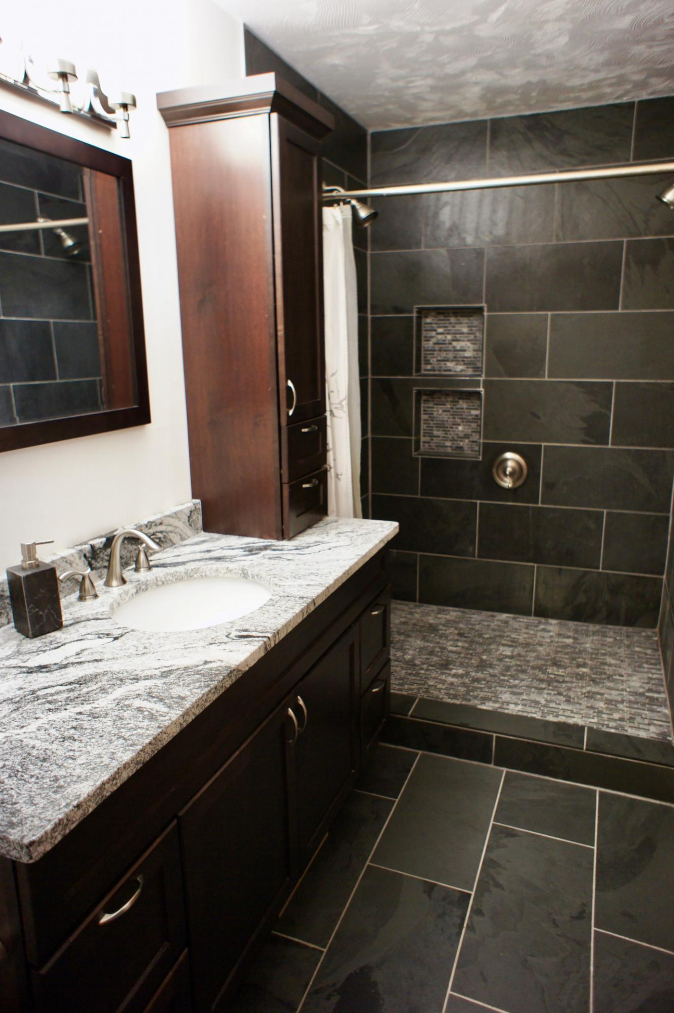 Yes, this bathroom is nicely remodeled too!