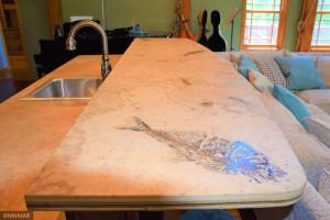 Livingroom Wet Bar Rare Fossil Counter Top 2