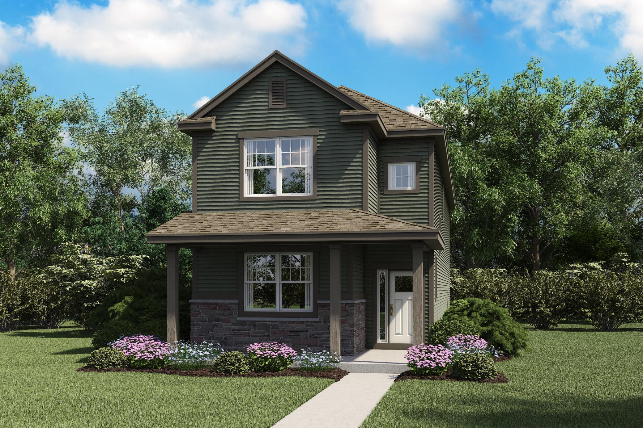 Front elevation rendering. Home features spacious covered front porch with stone accents.