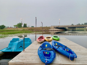 Kayaks, paddle boats to rent and enjoy the river