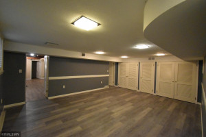 This is a great movie room or family room for gatherings.