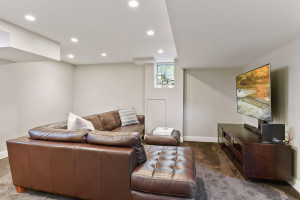 Basement family room perfect for entertaining.
