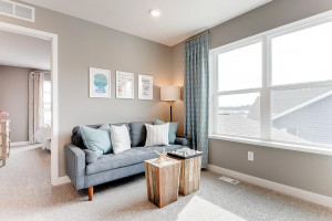 The primary suite is off the back of the home. This space (the home's loft) resides just atop the stairs and offers that second living space families of all sizes have come to appreciate! (Photos of the same floorplan, colors are similar)