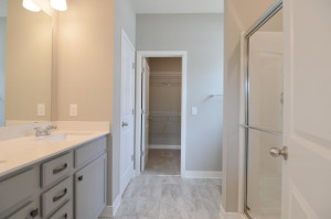 A peak inside the Primary bath - which includes a Quart covered double-vanity, oversized shower, stool, linen closet and leads into a walk-in closet that is sure to check another box! (Photo of same plan, colors are similar)