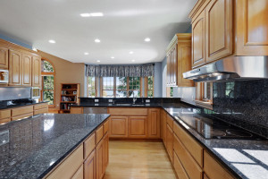 The granite countertops are the perfect worksurfaces for whipping up tasty meals and treats.