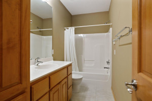 A full bathroom in the lower level is complete with a built -in linen cabinet.
