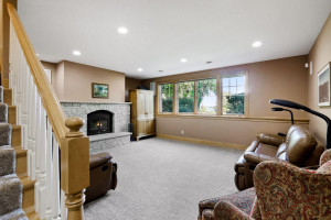 Fully finished, the walk-out lower level enjoys a second family room.