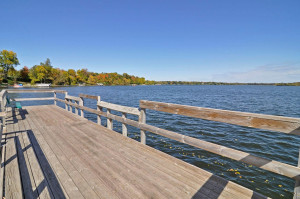 The park features a sandy swimming beach, playground, tennis courts and a fishing pier.