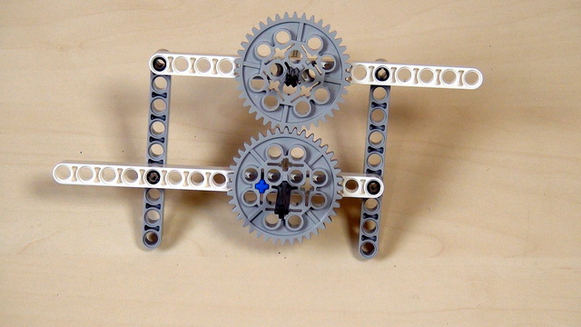 Image for Improving FLL Robot Game. Task. Add a beam to both sides of the gear wheels
