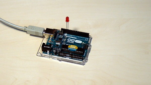 Image for Arduino Basic Course. Blinking diode working as a result of the module