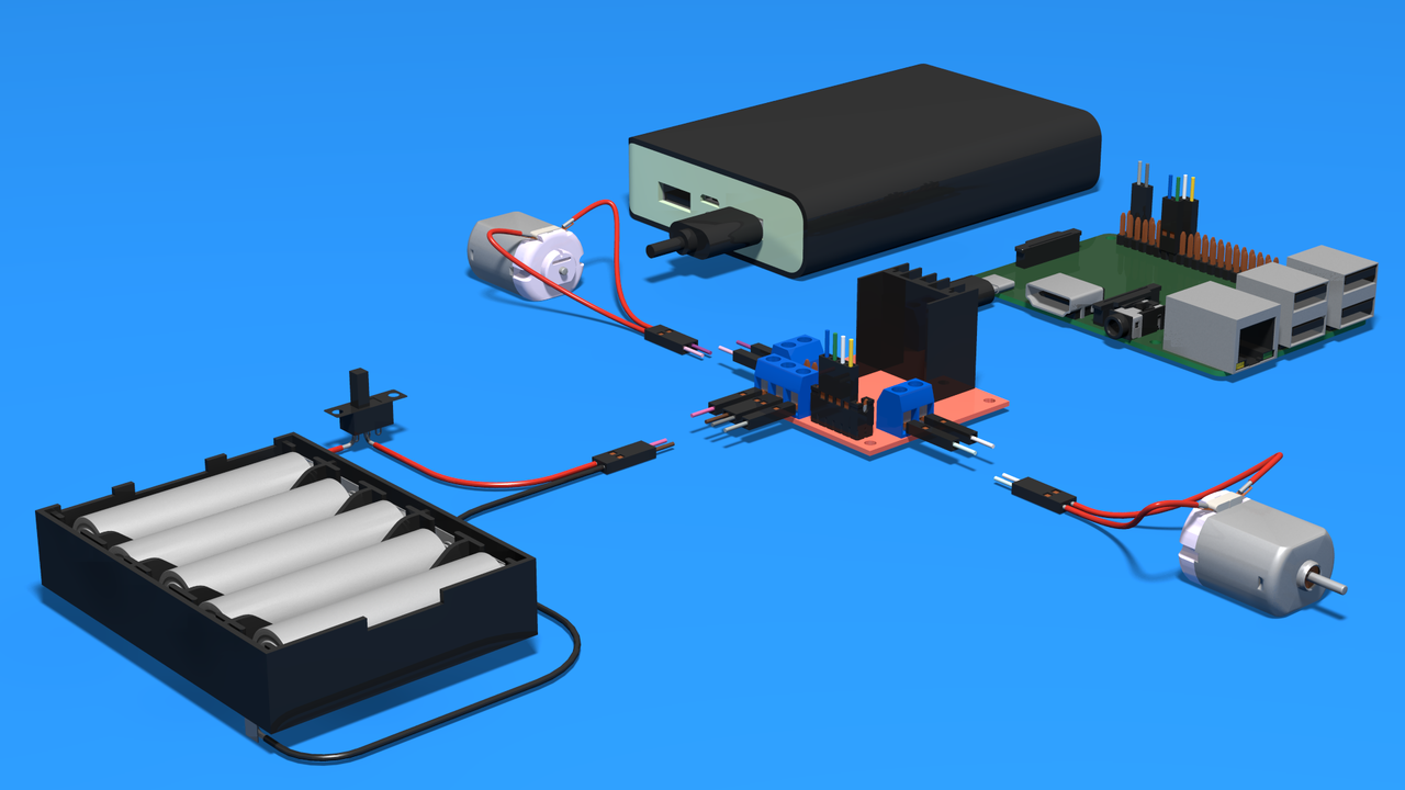 Image for Connect Front Steering Motor to Raspberry Pi - 3D Scheme