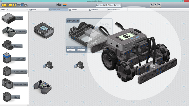 "Image for Truckie - ""Easy"" To Drive VEX IQ Program for Modkit. Left stick steers. Right stick moves"