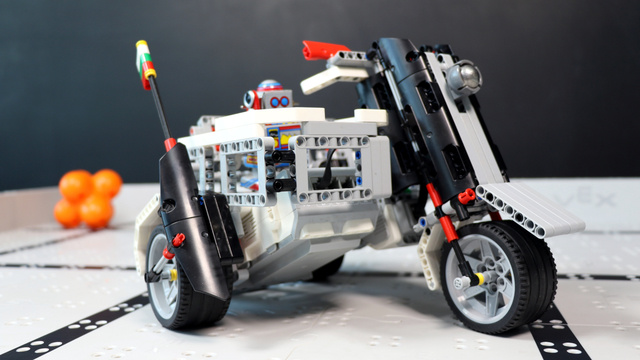 Image for How does the Rider Motorcycle robot with Cart built with LEGO Mindstorms EV3 work?
