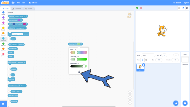 Image for How to check if a sprite is touching a specific color in Scratch?