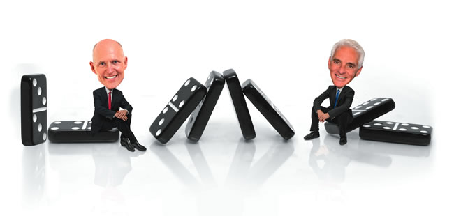 Whether it's Rick Scott or Charlie Crist, political dominoes will fall