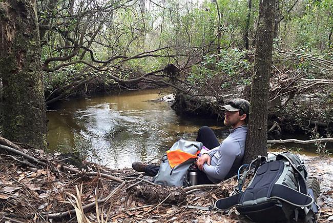 Joe Guthrie rests at Magnolia Creek