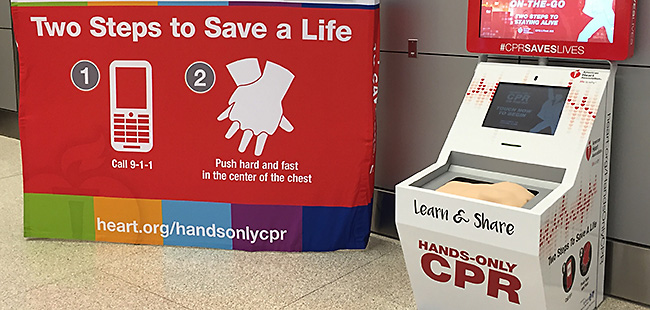 three u s airports to unveil american heart association hands only