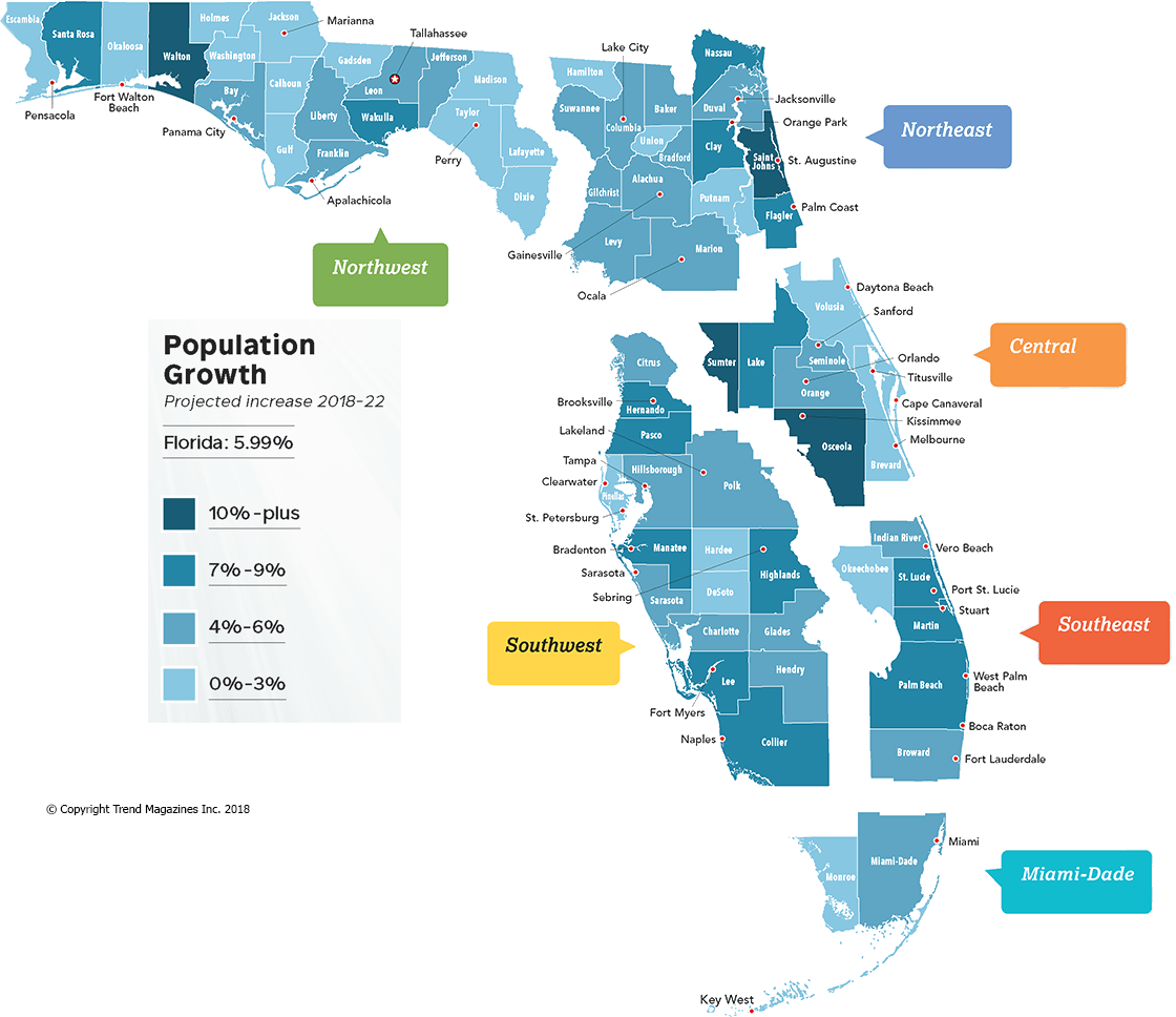 Florida Population Map.2018 Economic Yearbook Feature Florida Trend