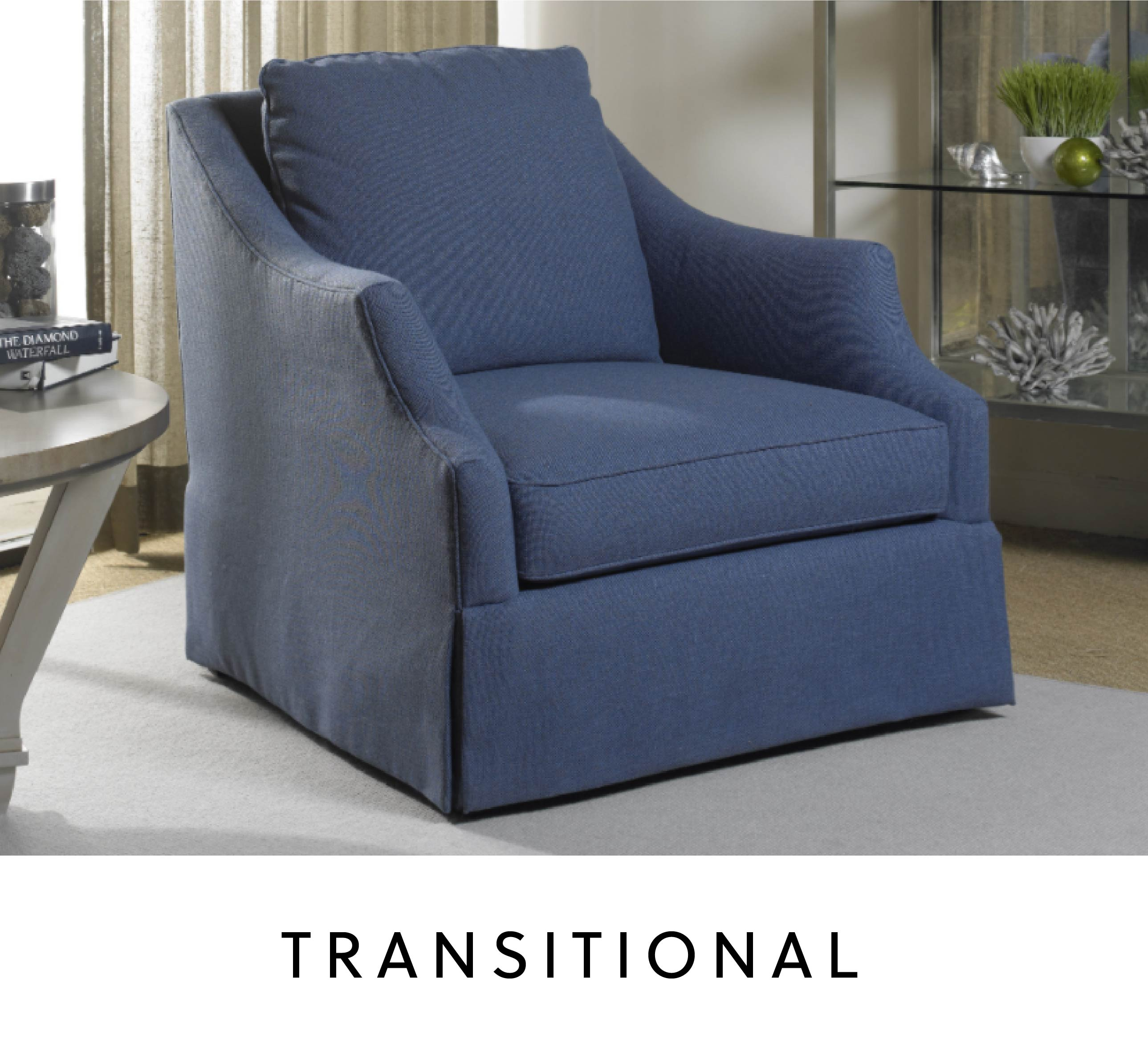 blue transitional armchair