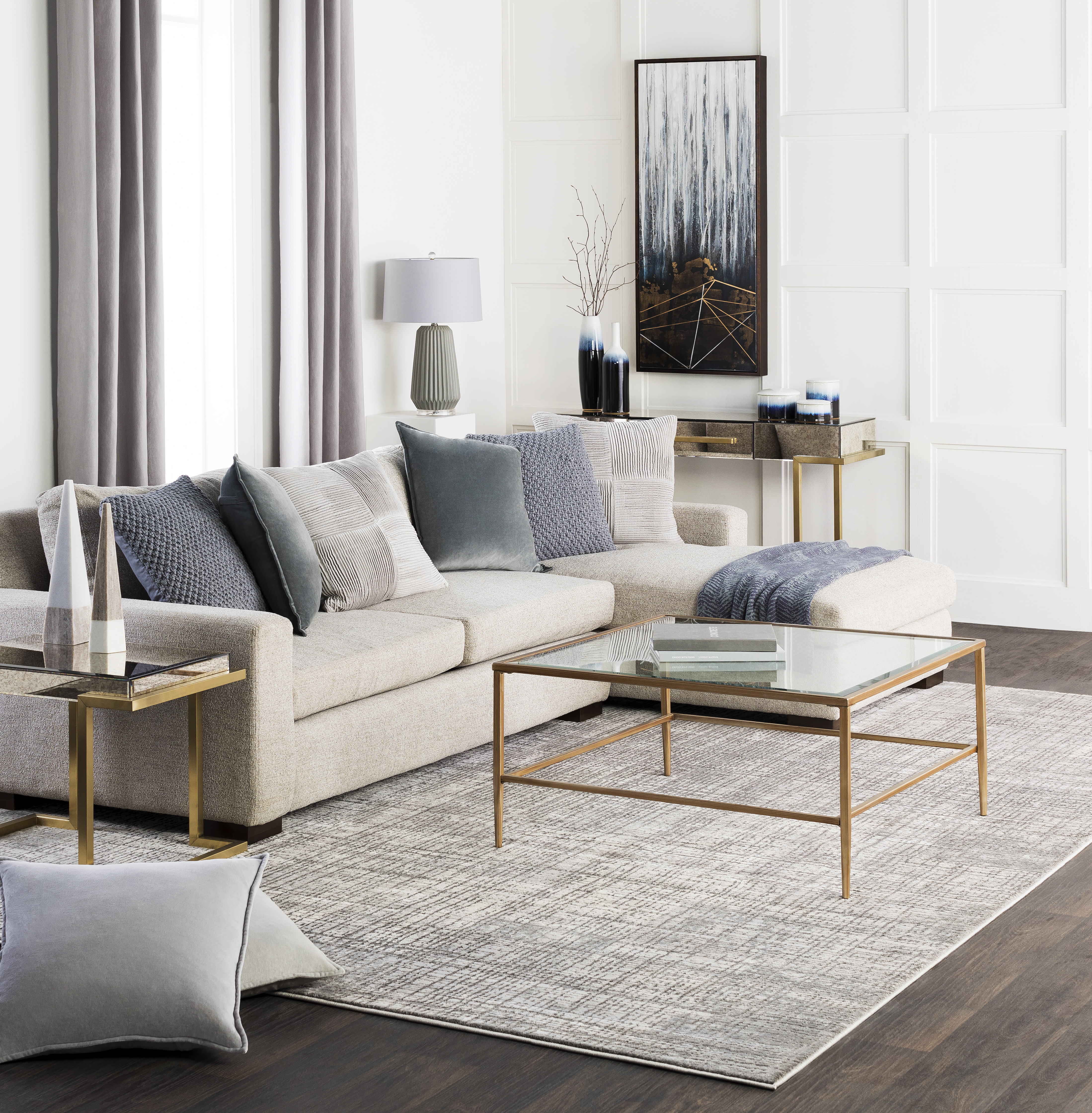 Surya rug in a living room