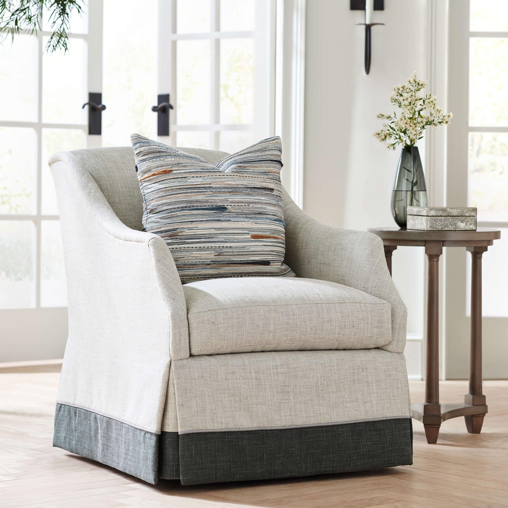 Cozy white accent chair