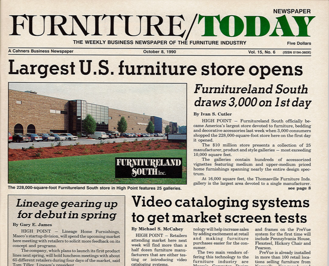 Newspaper article about Furnitureland South