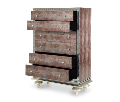 Michael Amini - Upholstered Five Drawer Chest - 03070-33