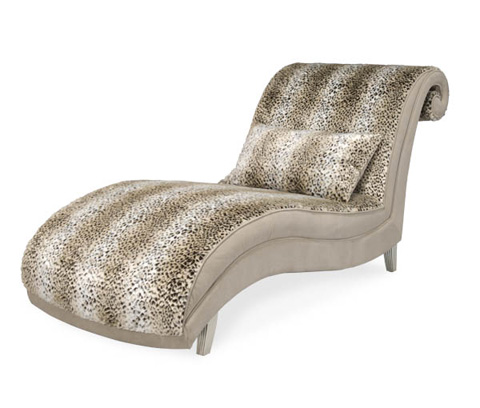 Michael Amini - Upholstered Armless Chaise with Scroll Back Design - 03841-JAGUR-05