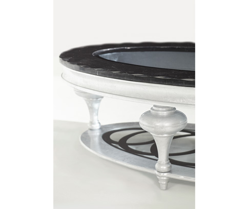 Michael Amini - Black Onyx Oval Cocktail Table - NU03201-88
