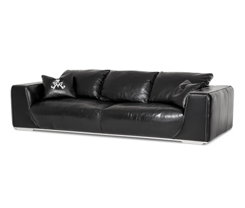 Michael Amini - Sophia Leather Mansion Sofa - MB-SOPHI16-ONX-13