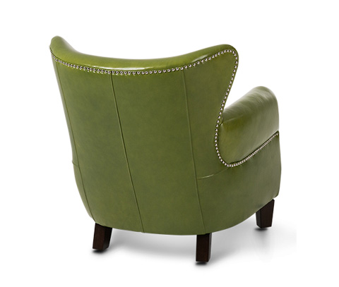 Michael Amini - Bladon Leather Accent Chair in Pistachio Espresso - ST-BLADN35-PIS-43