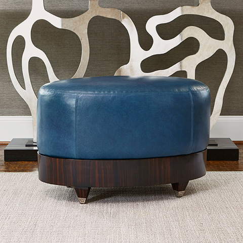 Ambella Home Collection - Oval Ottoman in Walnut - 580-27-1