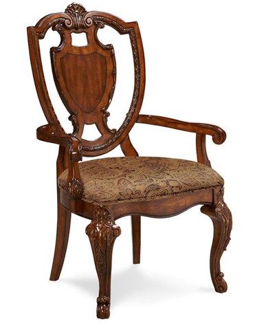 Image of Sheild Back Dining Arm Chair with Upholstered Seat