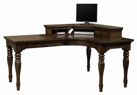 Aspenhome - Curve L Shaped Desk with Writing Hutch - I20-370CH-CHY/370R-CHY