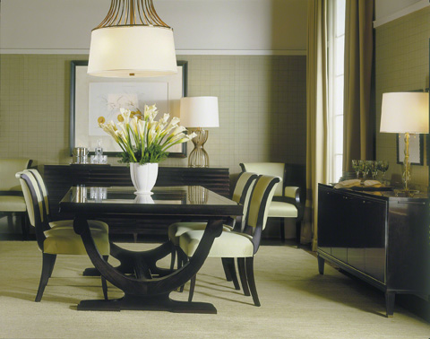 Baker Furniture - Rectangular Curved Base Dining Table - 3436