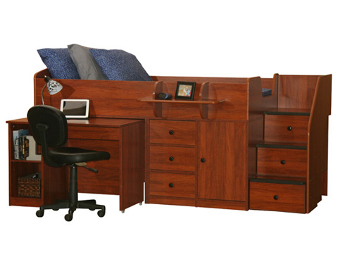 Berg Furniture - Twin Captain's Bed with Hide Away Desk - 22-721-80