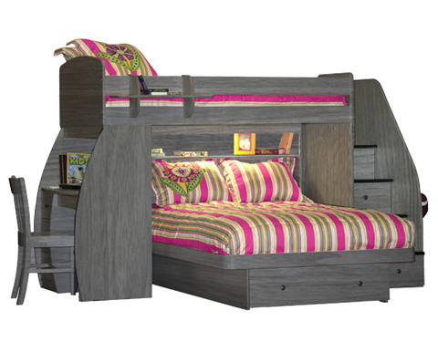 Berg Furniture - Twin over Full Bunk Bed with Desk - 22-815-94