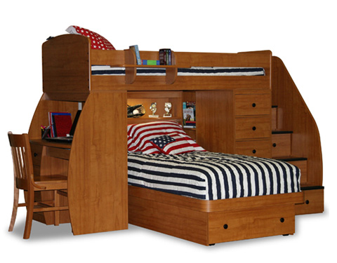 Berg Furniture - Twin over Twin Bunk Bed with Chest and Desk - 22-825-10
