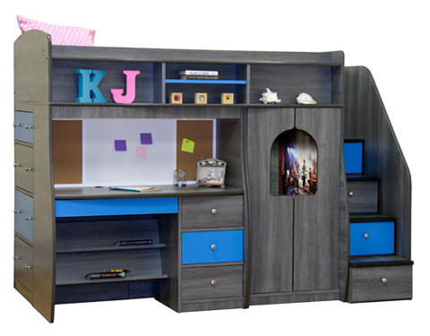Berg Furniture - Twin Loft Bed with Play Area and Desk - 91-74-94