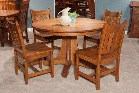 Borkholder Furniture - Single Pedestal Mission Solid Top Dining Table - NC-8020STX